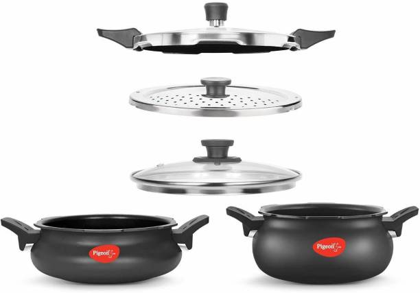 Pigeon by Stovekraft All In One Super Cooker Value Pack 3 L, 5 L Induction Bottom Pressure Cooker