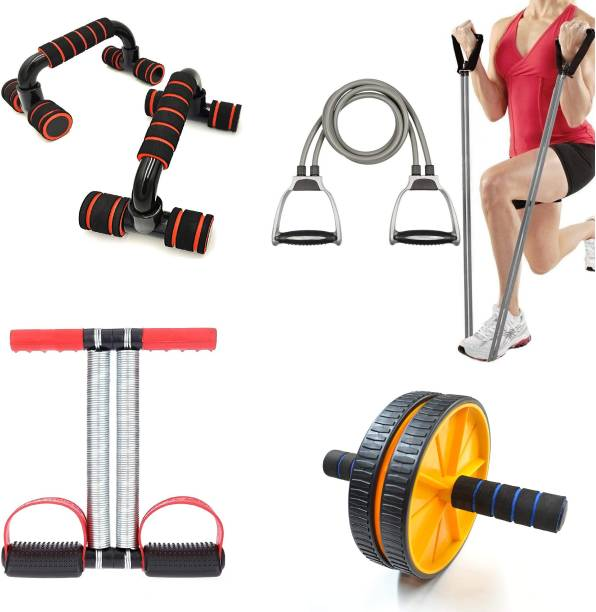 LIVOX Tummy Trimmer with Push UP Bar And Toning Tube, Ab wheel Roller. Ab Exerciser