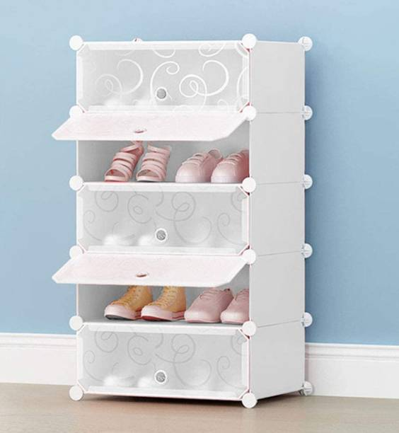 Sasimo Shoe Stand DIY Plastic Shoe Portable Storage Organizer. 5 Cube Shoe Wardrobe. Plastic Collapsible Shoe Stand with Cover for Home/Office Wardrobe Cube Organizer White (5 Cube White) Plastic Collapsible Shoe Stand