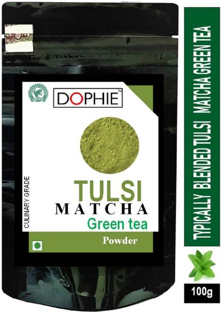 dophie Basil Matcha Green Tea Powder 100g[PACK-1]Culinary Grade – Magical taste of Tulsi/Basil , Excellent for Weight Loss - More Antioxidants than Green Tea Bags. Tulsi Matcha Tea Pouch
