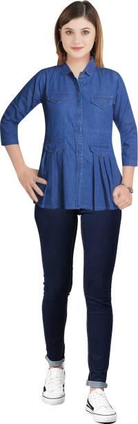 CEFALU Casual Full Sleeve Solid Women Blue Top