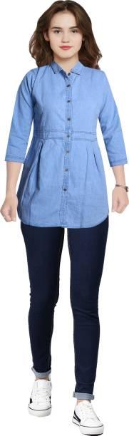 CEFALU Casual 3/4 Sleeve Solid Women Light Blue Top