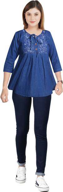 CEFALU Casual 3/4 Sleeve Embroidered Women Blue Top