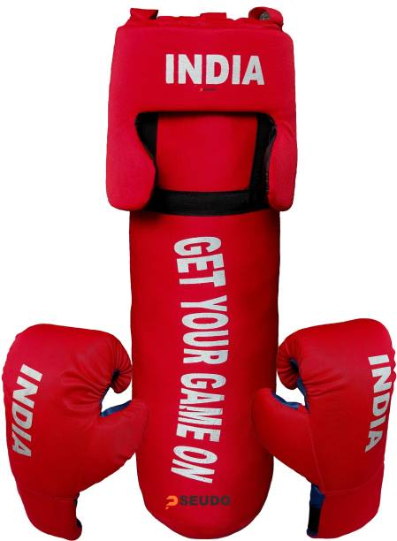 Pseudo By DealsUp Boxing Kit for Girls/Boys | Boxing Kit with Punching Bag, Head Gard and Gloves | Boxing Kit for Kids 52 Cms, Filled with Cotton,3 to 12 Years, Red. Boxing Kit