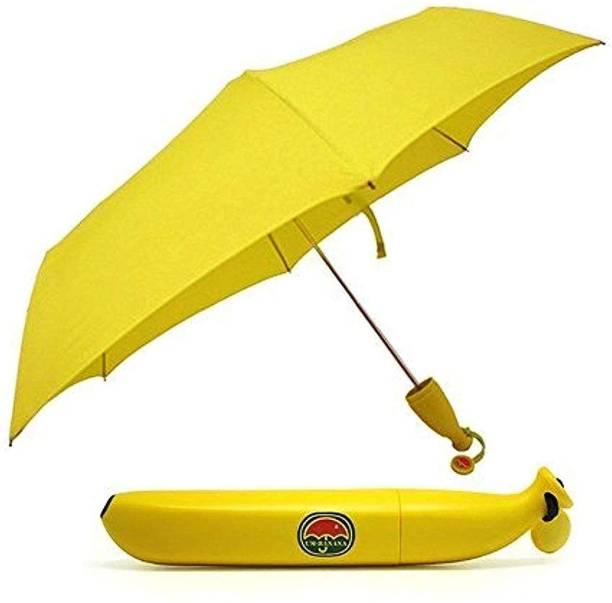 Prachi Umbrella Portable Lightweight Umbrellas Fashion Banana Shaped Umbrellas Rain Sun Umbrella for Women Umbrella (Yellow) Umbrella