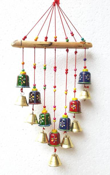 NEW SHIV COLLECTION Handcrafted Rajasthani Bells Design Wall Hanging Decorative Showpiece Plastic Windchime