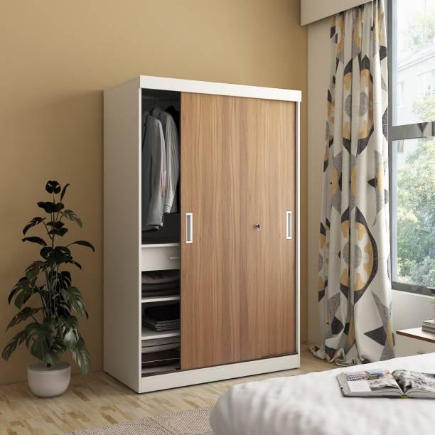 A GLOBIA CREATIONS Dimora Sliding Wardrobe Engineered Wood 2 Door Wardrobe