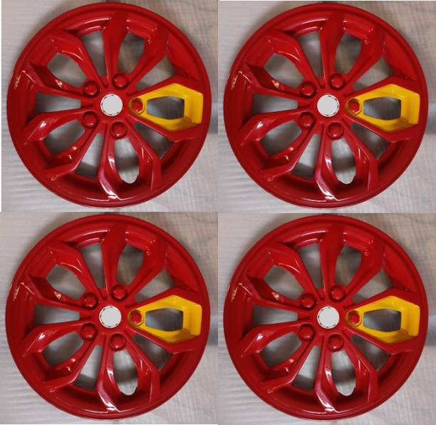 MERIDUM Red Color and Yellow Block wheel cap/wheel cover compatible with all car models Wheel Cover For Maruti, Hyundai, MAHINDRA, Chevrolet Universal For Car