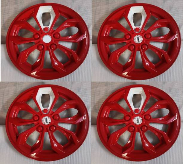 MERIDUM Red Color and White Block wheel cap/wheel cover compatible with all car models Wheel Cover For Maruti, Hyundai, MAHINDRA, Chevrolet Universal For Car