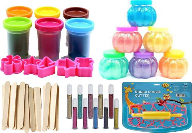 anjanaware Modeling Clay 6 pcs clay putty toy With 6pcs slime pot 10pcs icecream stic with with 10 pcs glitter foam With with Molds roller for kids