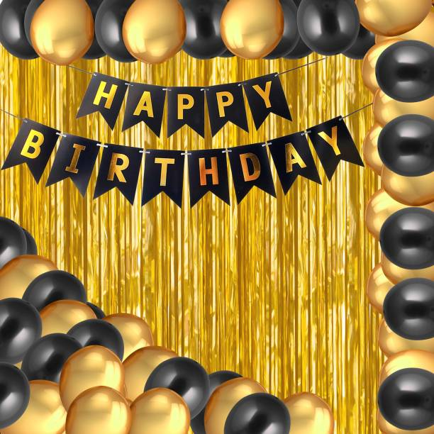 PARTY MIDLINKERZ Happy Birthday Balloons Decoration Kit 33 Pcs, 1 set of Happy Birthday banner and 30Pcs Golden and Black Metallic Balloons Set with 2Pcs of Golden Foil Curtain for Husband Kids Boys Balloons Decorations Items Combo with Helium Letters Foil Balloon Banner, Latex Metallic Balloons Balloon (Multicolor, Pack of 33)