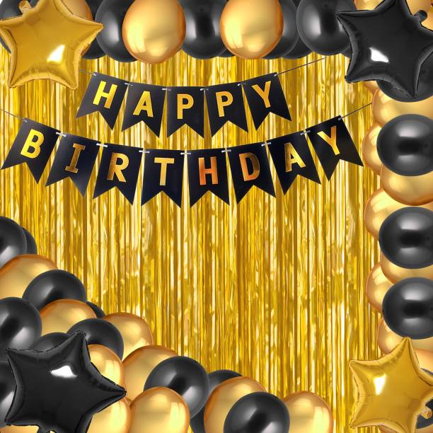 PARTY MIDLINKERZ Happy Birthday Balloons Decoration Kit 37 Pcs, 1 set of Happy Birthday banner and 30Pcs Golden and Black Metallic Balloons Set, 2 Golden + 2 Black Star foil with 2Pcs of Golden Foil Curtain for Husband Kids Boys Balloons Decorations Items Combo with Helium Letters Foil Balloon Banner, Latex Metallic Balloons Balloon (Multicolor, Pack of 37)