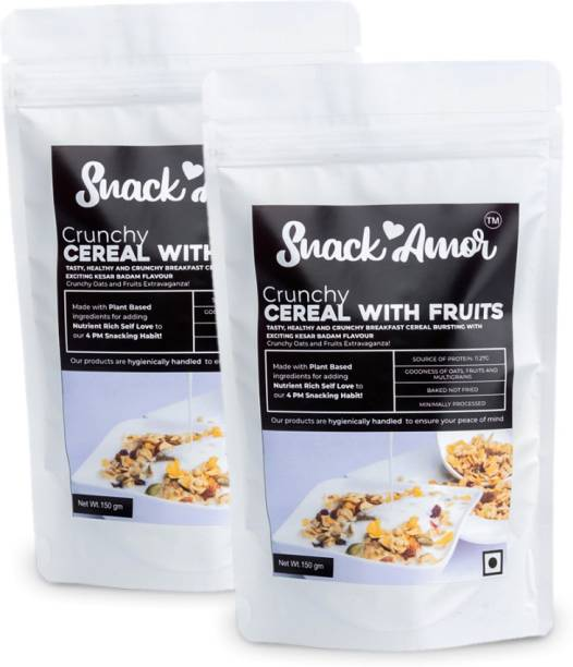 Snack Amor Healthy Crunchy Cereals Bursting with Kesar Badam Flavor and Goodness of Fruits, 100% Vegetarian Product ( Pack of 2, 150 g Each)