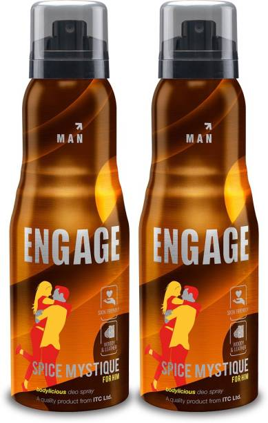 Engage Spice Mystique Deodorant for Men, Woody and Leather, Skin Friendly, 150ml Pack of 2 Deodorant Spray  -  For Men