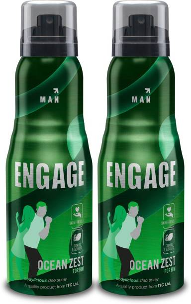 Engage Ocean Zest Deodorant for Men, Citrus and Aquatic, Skin Friendly, 150ml Pack of 2 Deodorant Spray  -  For Men