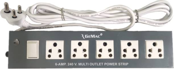 RGEMAC 5+1 LONG WIRE EXTENSION BOARD METAL BODY 4 METER CORD LENGTH POWER CORD SURGE PROTECTOR Three Pin Plug