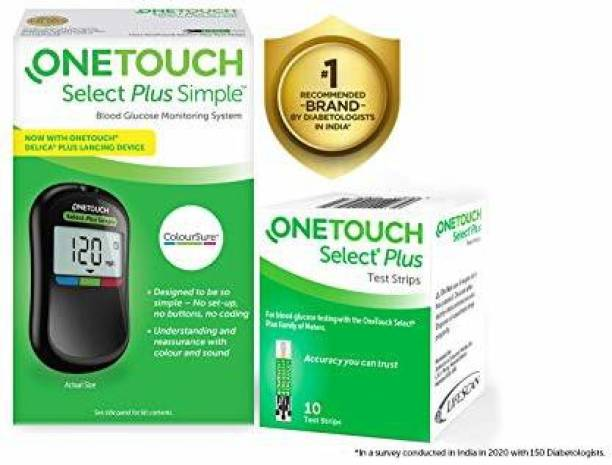 OneTouch Select Plus Simple Glucometer (FREE 10 strips + lancing device + 10 lancets) Glucometer