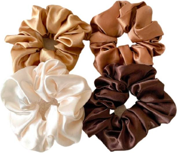 hummanbird Brown Hair Tie Pure Silk Scrunchies hair Elastic Rubber Bands Pack of 4 Rubber Band