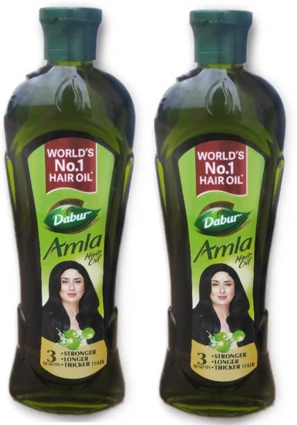 Dabur Amla Hair Oil stronger with 3 benefits longer thicker hair (2*275ml) Hair Oil