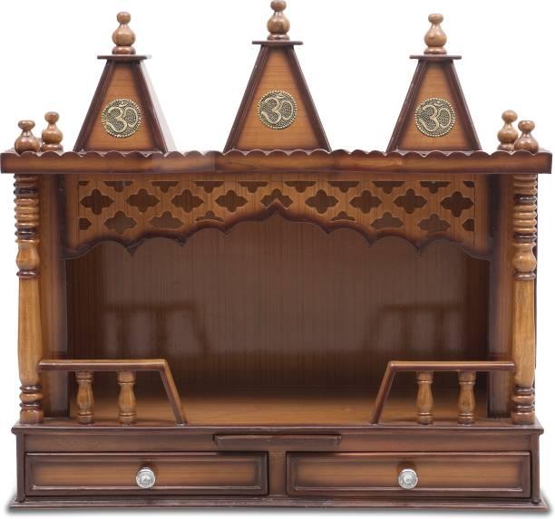 DZYN FURNITURES Sunanda Bhawan Wooden Temple Solid Wood Home Temple