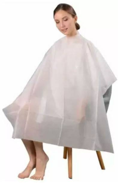 Tifurko Men' and Women's Disposable Apron/Cutting Sheet for Hair Dyeing and Cutt ing WHITE COLOUR (PACK OF 10) Makeup Apron