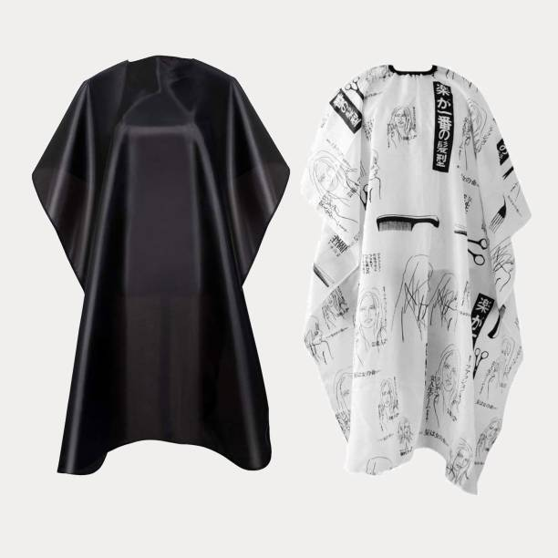 QKYPZO Waterproof Barber Styling Cape - Professional Salon Cape for Men, Unisex Black Hair Cutting Cape with Adjustable N, 35.5 x 55 inches Hairdresser Cape for Hair Treatment - Cutting/Coloring/Perming Black And White Makeup Apron