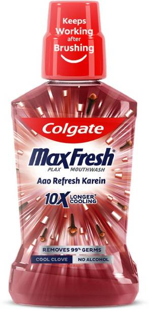 Colgate Maxfresh Plax Antibacterial Mouthwash, 24/7 Fresh Breath - Cool Clove