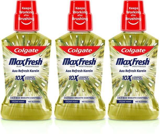 Colgate Maxfresh Plax Antibacterial Mouthwash, 24/7 Fresh Breath (Pack of 3) - Saunf