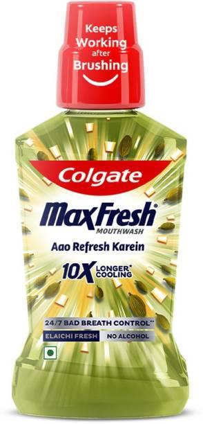 Colgate Maxfresh Plax Antibacterial Mouthwash, 24/7 Fresh Breath - Elaichi Fresh