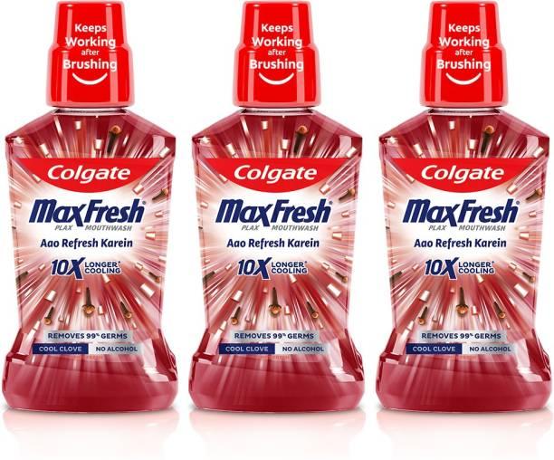 Colgate Maxfresh Plax Antibacterial Mouthwash, 24/7 Fresh Breath (Pack of 3) - Cool Clove