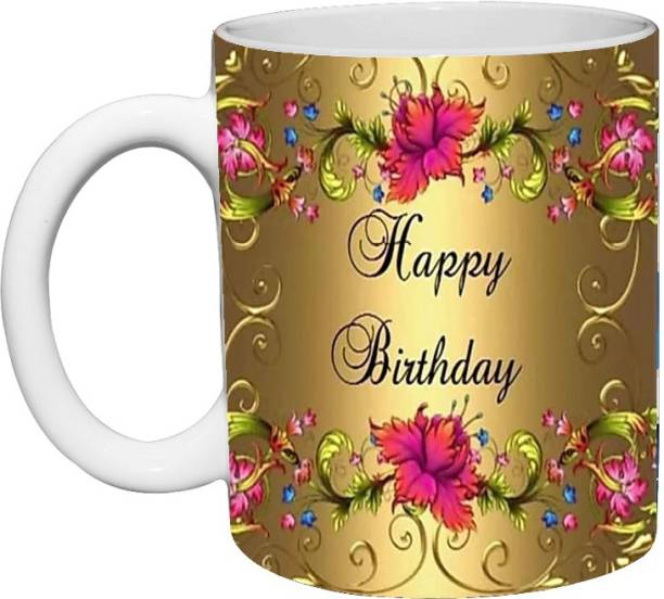 Murli Textiles MTM Happy Birthday Ceramic printed coffee mug(350ml) flower print Ceramic Coffee Mug