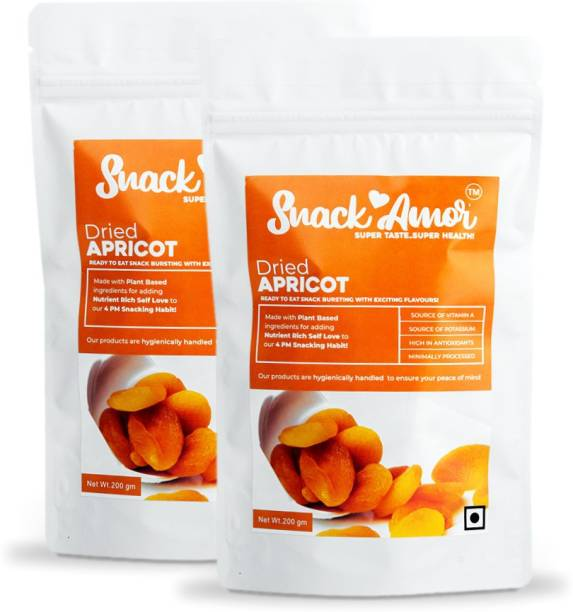 Snack Amor Dried Apricots Packed with Nutrients, Good Source of Vitamin A and Potassium ( Pack of 2, 200G Each ) Apricots