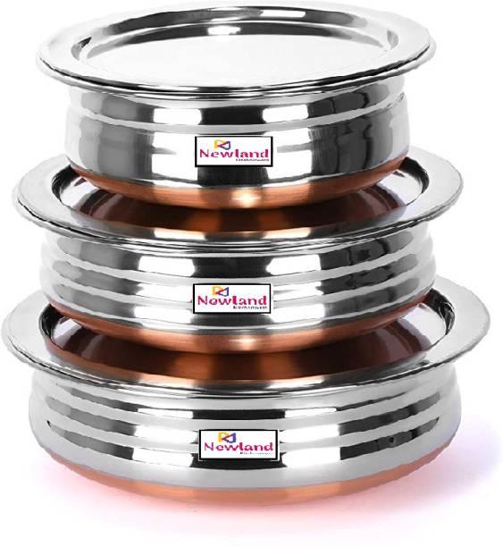NEWLAND kitchenware 3 pcs different size copper bottom small handi/prabhchety/urli with lid (6 pcs set) Handi 1.5 L, 0.75 L, 0.55 L with Lid