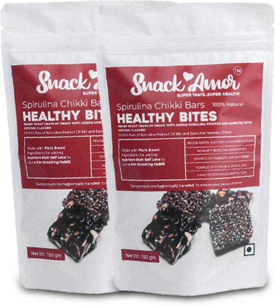 Snack Amor Healthy Bites Spirulina Chikki Bars with Two Flavour of Chikki, The Peanut and Sesame Chikki Bar, 100% Vegetarian Product ( Pack of 2, 150G Each )
