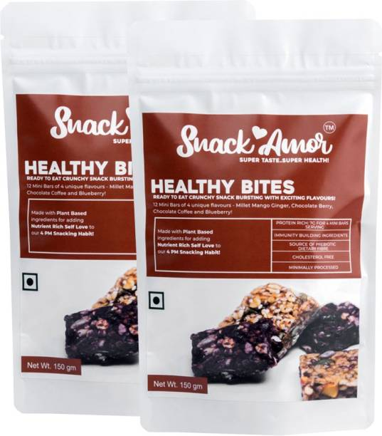 Snack Amor Healthy Healthy Bites - Mini Bars With 4 Flavour Mango Ginger, Chocolate Berry, Chocolate Coffee And Blueberry Healthy Diet Snacks, 100% Vegetarian Product ( Pack of 2, 150 G Each )