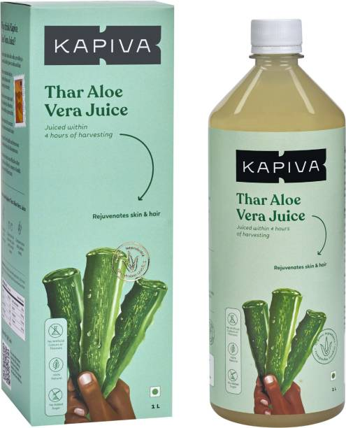 Kapiva Thar Aloe Vera Juice (with Pulp) | Rejuvenates Skin and Hair | Natural Juice made within 4 hours of harvesting | No Added Sugar