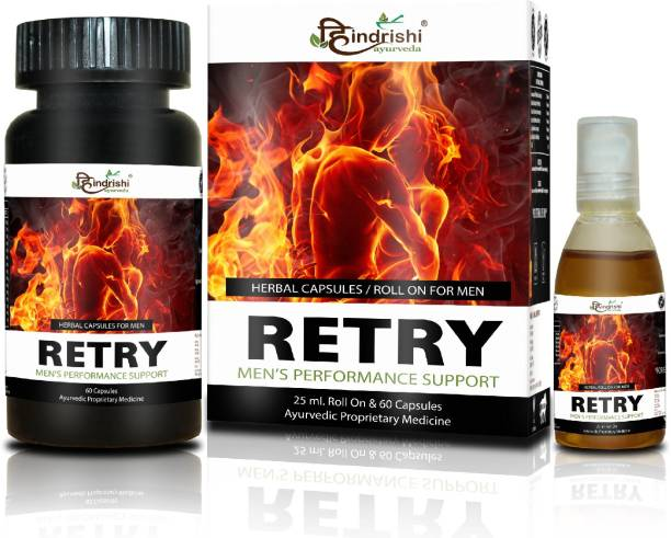 Hindrishi Ayurveda Retry Gold (capsules and oil combo) with Shilajit, Ashwagandha helps in Strength, Stamina and Vitality