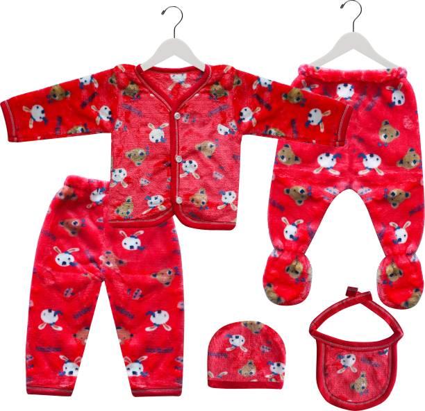 Fancy Walas Presents Born Baby Winter Wear Keep Warm Cartoon Printing Baby Clothes 5Pcs Sets Cotton Baby Boys Girls Unisex Baby Fleece/Velvet Suit Infant Clothes
