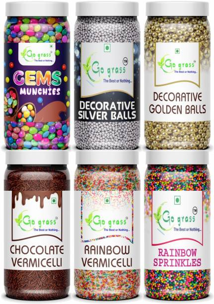 GO GRASS Combo of (Rainbow & Chocolate) Vermicelli 150 + 150 GRAM EACH | & Golden Balls + Silver Balls Topping 200 + 200 GRAM EACH | Gems Munchies + Rainbow balls (200 + 200 GRAMS EACH)| ( Pack of 6 ) TOTAL 1100 grams Sprinkles