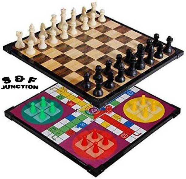 sports & fitness junction Wooden Ludo + Chess 2 in 1 Board Game With One Set OF Ludo Coins + Dice & Chessmen Party & Fun Game Board Game Strategy & War Games Board Game