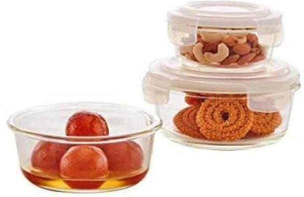 Masox Store Round Storage Bowl With Air Tight Clip Lid Set of 3 400ml, 650ml & 950ml Glass Storage Bowl