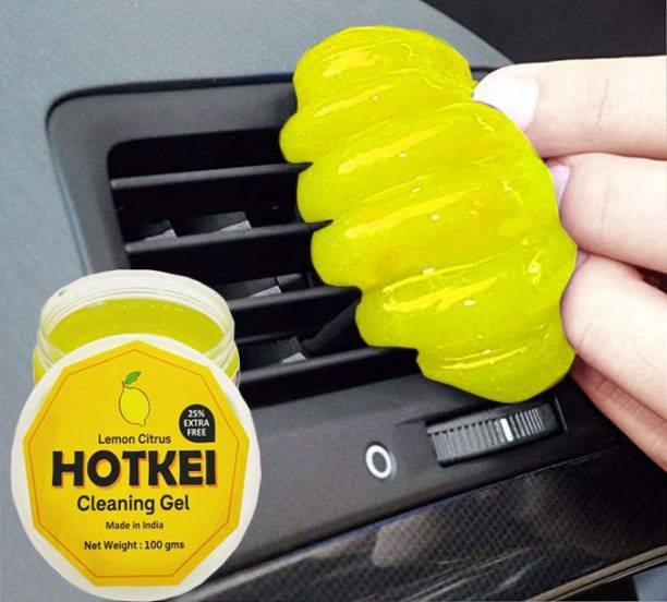 Hotkei Lemon scented Multipurpose Car Ac Vent Interior Dashboard Dust Dirt Smudge Cleaning Cleaner Slime Slimy Gel Jelly Putty Kit For Car Keyboard Laptop PC Electronic Gadgets Products Lemon scented (100 Gm) Car cleaner cleaning Gel Vehicle Interior Cleaner