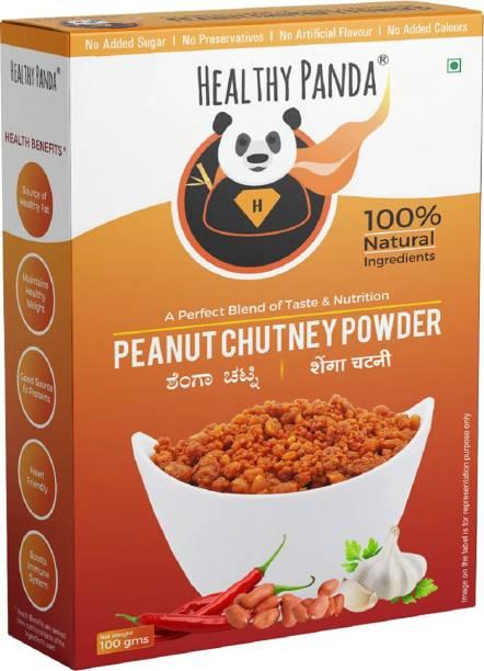 HEALTHY PANDA Uttar Karnataka's Famous Pounded Peanut Garlic Chutney Powder/Groundnut Chutney Powder(Shenga Chutney)(100% Natural& Healthy)(375 gms)125Gms X pack of 3 Chutney Powder