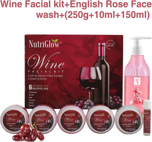 NutriGlow Exclusive Combo of Wine Faciat Kit (250 gm) & English Rose Face wash (150 ml) For Glowing Skin Complete CTM Regime