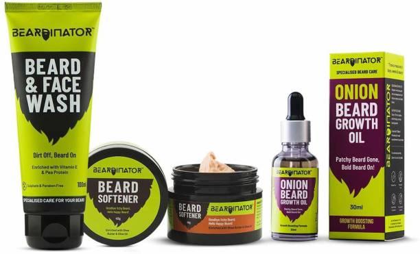 Beardinator 3 in 1 Essential Beard Growth Kit | Onion Beard Growth Oil (30 ML), Beard Wash (100 ML), Beard Softener (45 GM)