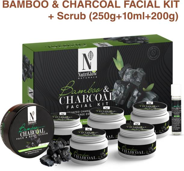 NutriGlow NATURAL'S Bamboo Charcoal Combo : Facial Kit (250 gm) + Face Scrub (200 gm) /Peppermint & Thyme /Deep Exfoliation / Remove Blemishes