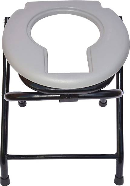 MUBBA Oval Grey Stool with POT Commode Shower Chair