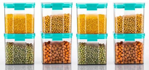 4 SACRED 100% Unbreakable High Quality Double Lock System Containers to store Spices, Masalas, Dry Fruits, Rice, Wheat  - 700 ml Plastic Grocery Container