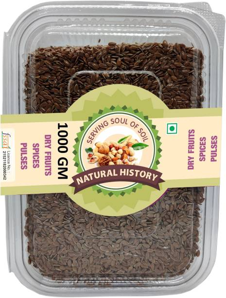 natural history Brand - Fibre Rich Alsi Seeds, Premium Raw Flax Seeds for Weight Loss, Diet Snack 1000 GM (Pack Of 1)