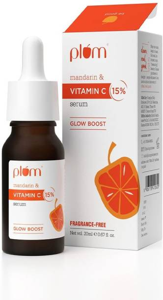 Plum 15% Vitamin C Face Serum with Mandarin   For Glowing Skin   With Pure Ethyl Ascorbic Acid   For Hyperpigmentation & Dull Skin   Fragrance-Free